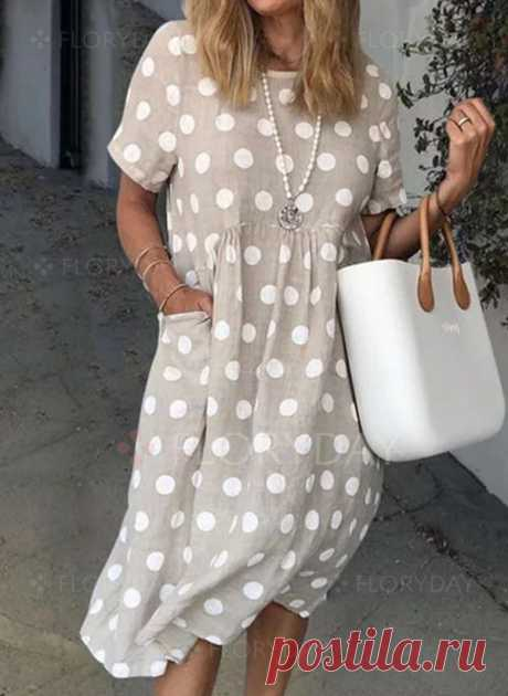 Casual Polka Dot Tunic Round Neckline Shift Dress - Floryday