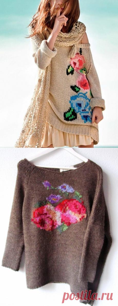Вышивка по вязаном полотну схемы.