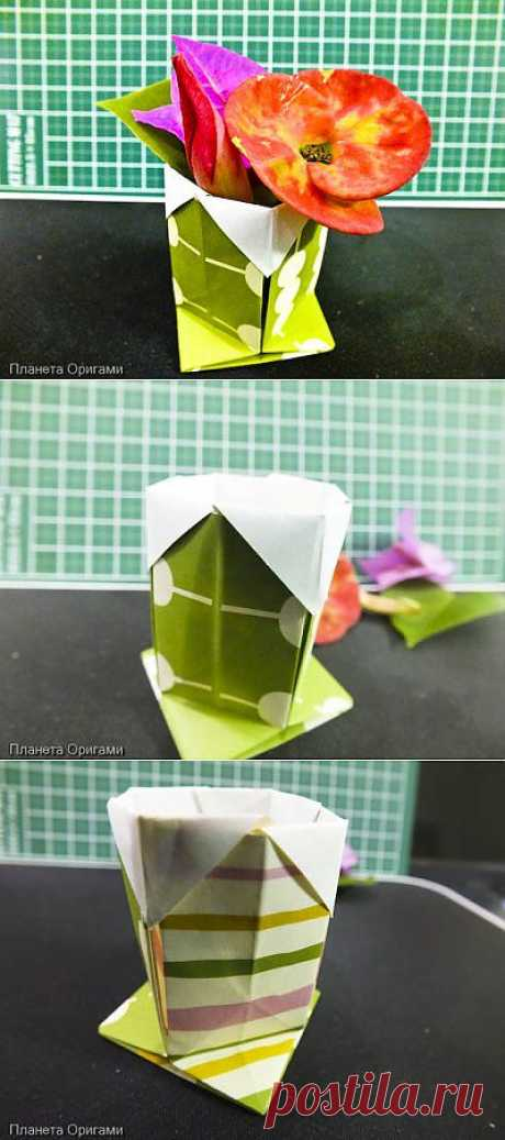 Маленькая вазочка из бумаги по схеме Stephen Hecht