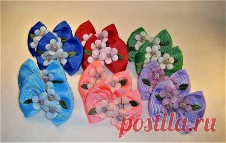 Бантики из репсовой ленты с цветочками | Ovlako   | Яндекс Дзен