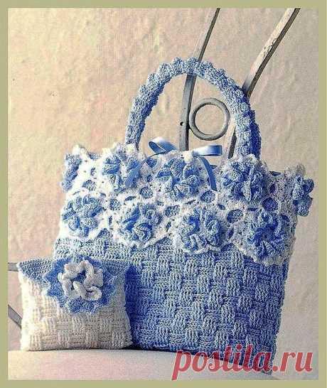 Симпатичная сумочка с цветами+кошелёк (крючок).