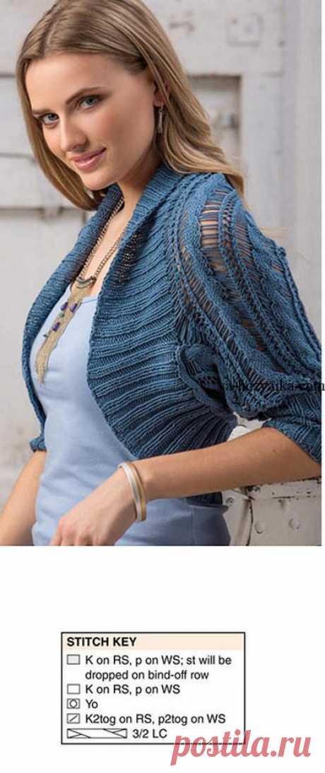 Openwork shrag with braids. Schemes of knitting of a female shrag spokes