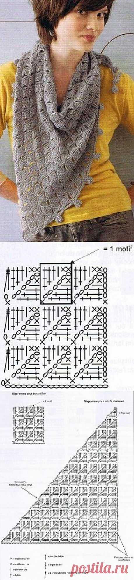 Вязание платка крючком
