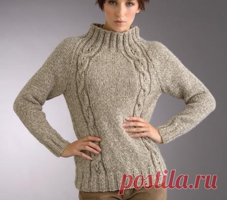 Пуловер реглан спицами.