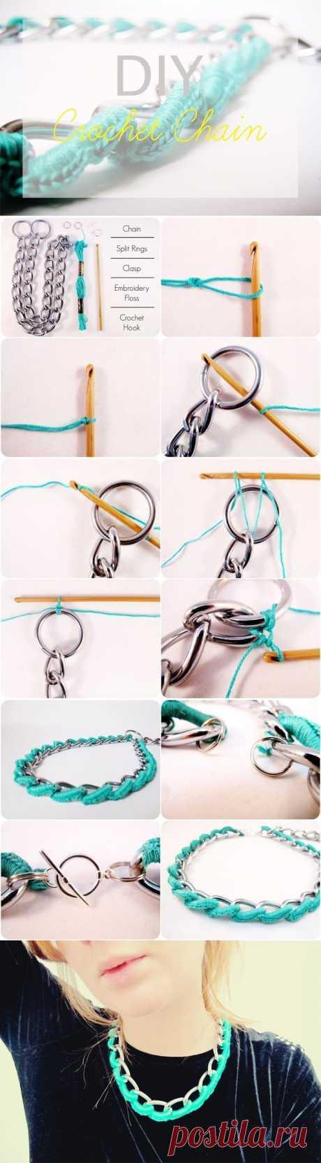 Ожерелье: мулине + цепь (DIY) / Украшения и бижутерия / Модный сайт о стильной переделке одежды и интерьера