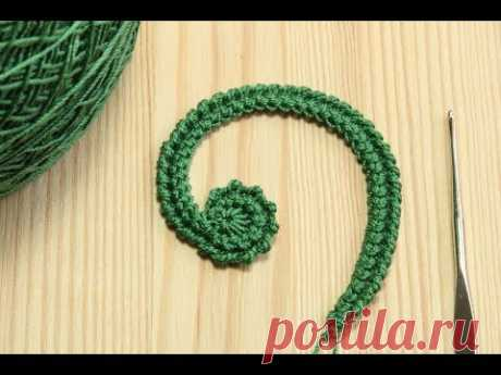 Вязание ЛЕВОГО ЗАВИТКА на шнуре гусеничка - крючок для новичков Education crochet