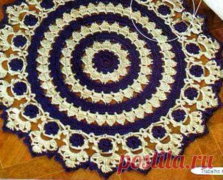 Коврик крючком. Схема вязания Вязаный круглый коврик. Схема вязания.
