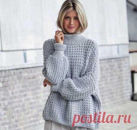 Серый свитер оверсайз из категории Интересные идеи – Вязаные идеи, идеи для вязания