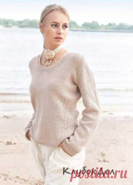 Женский пуловер спицами - схема с описанием вязания пуловера на спицах
