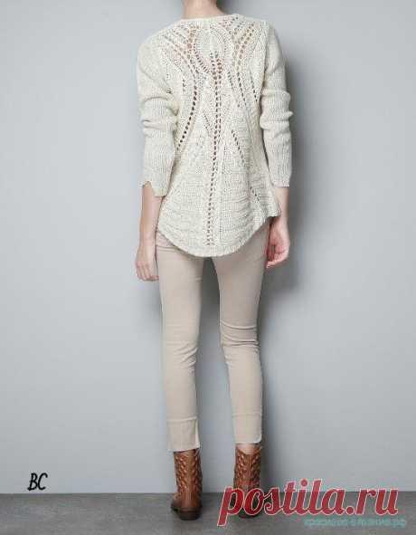 Красивое вязание   Пуловер с ажурной спиной от Zara