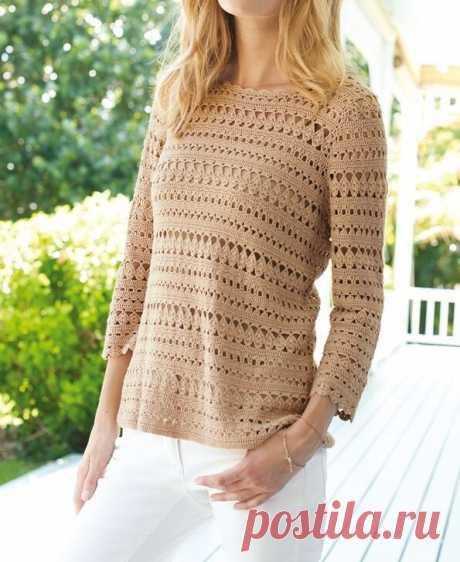 Женские пуловеры крючком со схемами и описанием.   Вяжем с Еленой Коротенко   Яндекс Дзен
