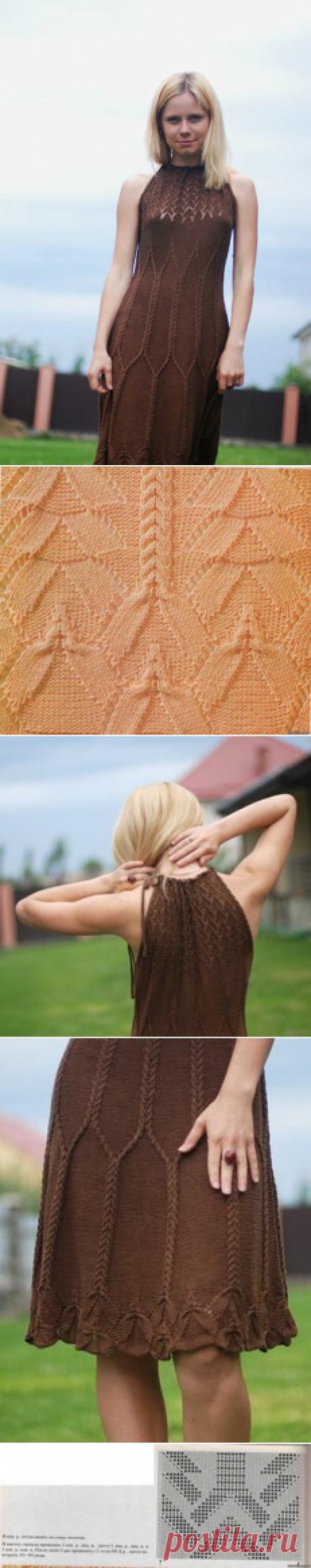 """Платье спицами с косами """"Шоколад"""" из шелка и не то"""
