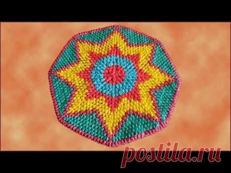 Коврик крючком из пакетов. Вязание коврика крючком. Часть 3. Crochet rug. Part 3.