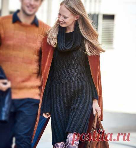 Черное платье со снудом - схема вязания спицами. Вяжем Платья на Verena.ru