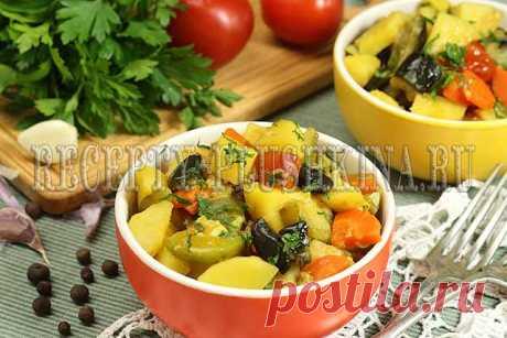 Овощное рагу с кабачками, баклажанами и картошкой - рецепт с фото Готовим овощное рагу с кабачками, баклажанами и картошкой по простому рецепту с пошаговыми фото. Приготовление овощного рагу займет всего полчаса.