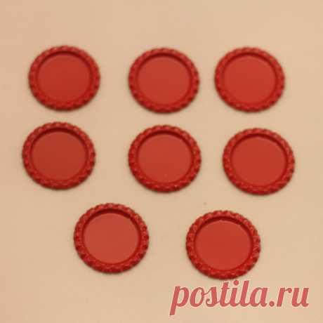 БРАК Крышка, Материал металл, Внутренний диаметр 25 мм, наружный 31 мм, цвет №19 красный (1 уп. = 24 шт)