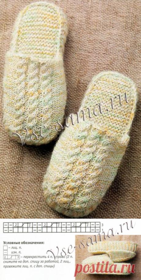 Шлепанцы спицами на толстой подошве - Детские носочки, гольфы, тапочки спицами