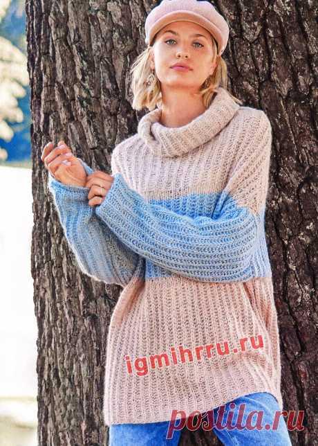 Трехцветный свитер с патентным узором. Вязание спицами со схемами и описанием