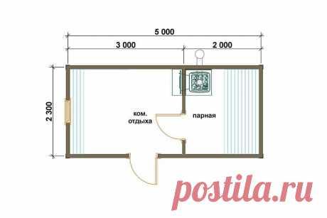 Проект готовой бани 2.3x5 - Нева от 175000 рублей