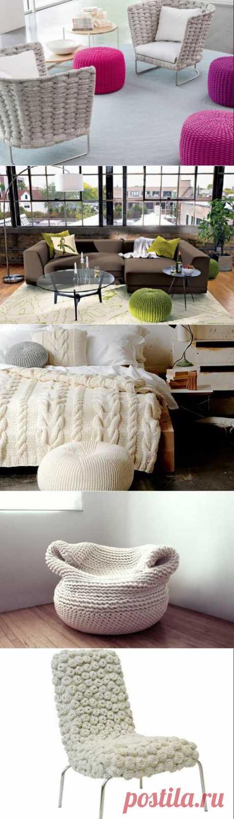Спицы и нитки ‒ удивительный способ обновить мебель и декор   Самоделкино