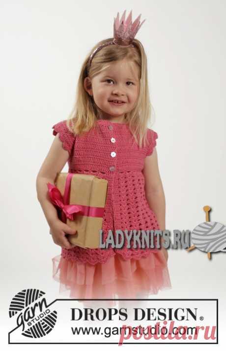 Ажурный жакет крючком Lovely Rose («Прекрасная роза») от Дропс для девочки от 1 года до 10 лет.