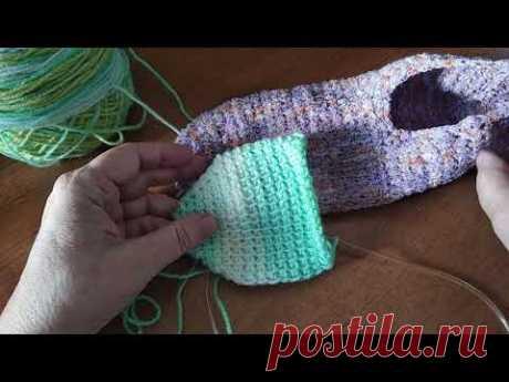 Тапочки (следки) тунисским вязанием без шва, мастер-класс