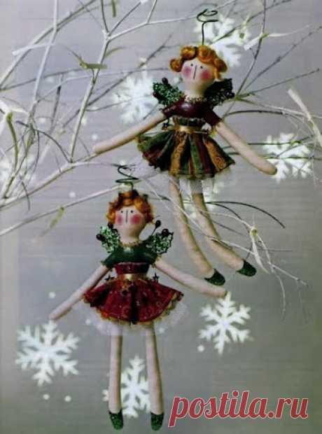 Ангелочки - текстильные куклы с выкройкой.