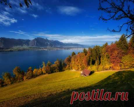 Картинки switzerland, осень, горы, деревья, домик, пейзаж - обои 1280x1024, картинка №435037