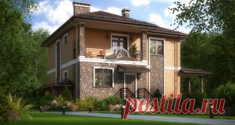 Готовый проект дома 304 м2 в европейском стиле из газобетона.