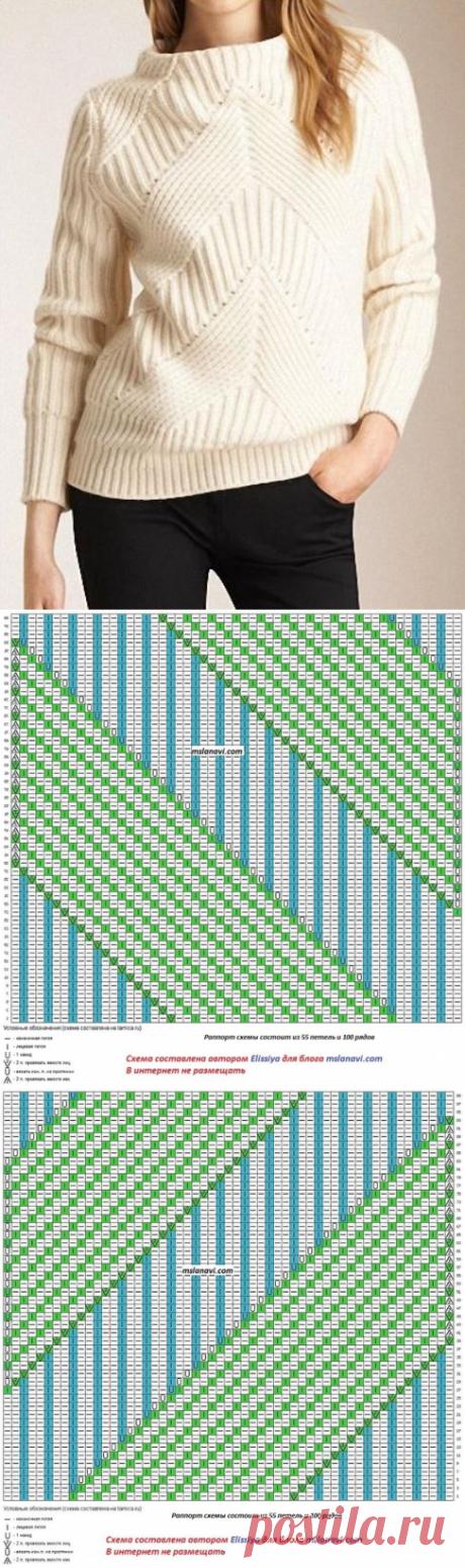 Белый свитер BURBERRY с диагональным узором спицами - Cтильное вязание