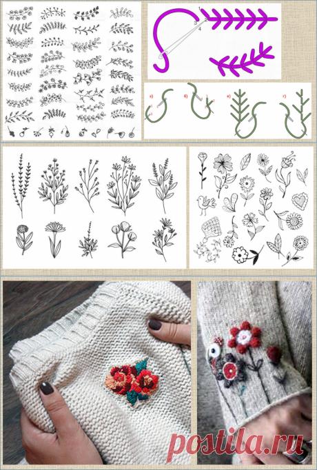 А давайте украсим свои кофточки и свитера весенними цветами - примеры и способы вышивки по вязанному полотну | МНЕ ИНТЕРЕСНО | Яндекс Дзен