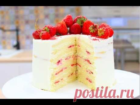 Cake the Dairy Girl \/ Biscuit Cake with Strawberry \/ Sponge Cake Recipe