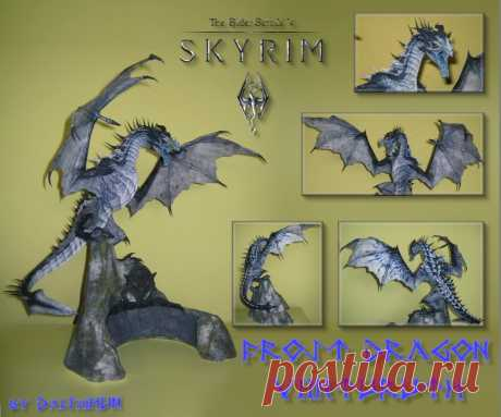 Frost Dragon - Viinturuth (Skyrim) Papercraft I've finally finished with my 2nd build of my Skyrim - Frost dragon paper model. (Yes technically its a wyvern ... take it up with Bethesda ) This one sports new textures and a new more stable base...