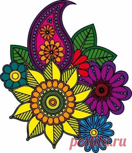 Раскраски антистресс с цветочными мотивами