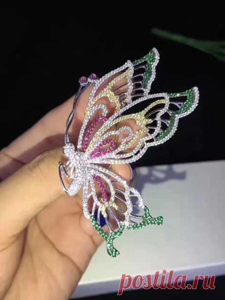 Булавки, брошка, бабочка из серебра 925 пробы, разноцветные Изящные женские ювелирные изделия, бесплатная доставка | Украшения и аксессуары | АлиЭкспресс