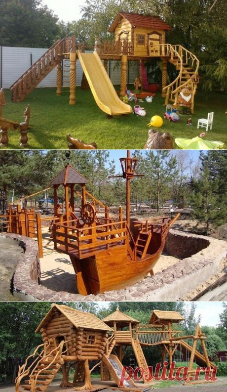 Детские игровые площадки из дерева.