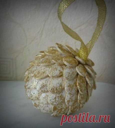 💥 Шкатулка рукоделия⭐ вязание, вышивка, шитье Украшение из тыквенных семечек