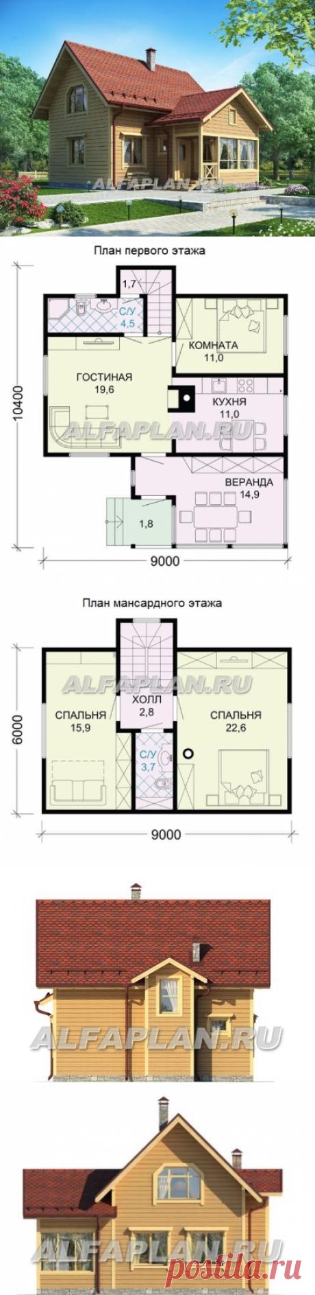Дом из бруса (дача) для маленького участка (G107), Alfaplan.ru