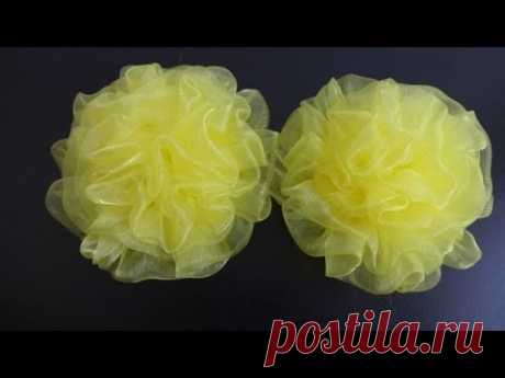 Magnificent bow from organza. Master class. \/ Organza Bows\/