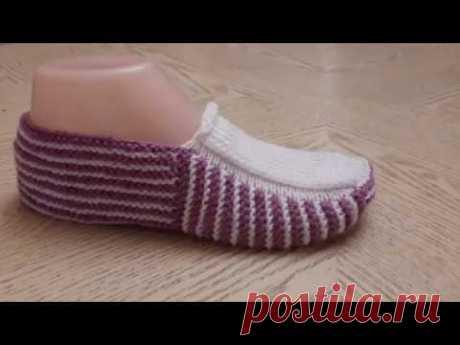 Классные тапочки следки на двух спицах № 10  / Knitting shoes / Patik modelleri.