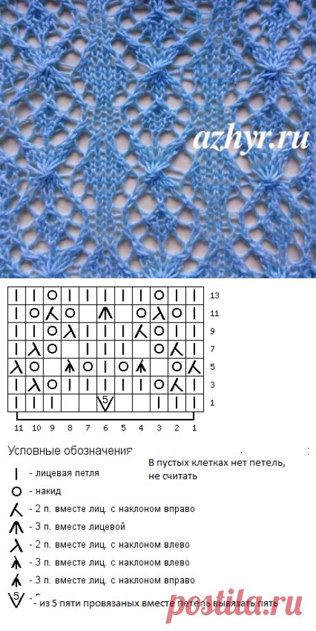 Фантазийный узор спицами - схема   Ажур
