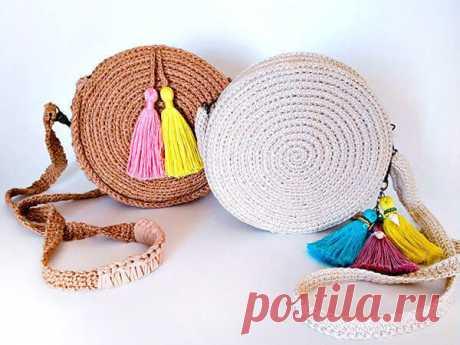 Модная сумочка из джута крючком: схема, описание вязания, видео мк