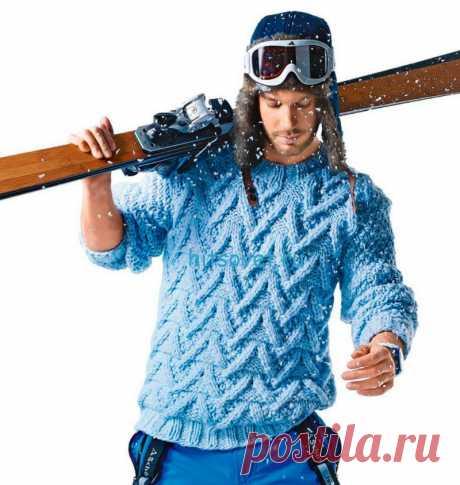 Мужской пуловер с рельефным узором - Хитсовет