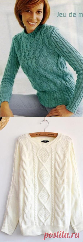 2 пуловера красивыми узорами спицами