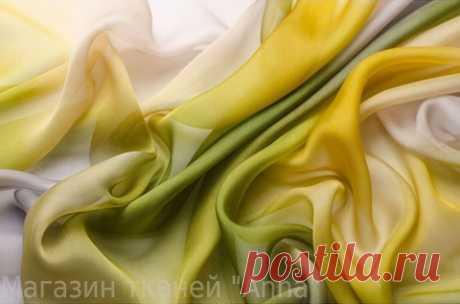 Шифон деграде в зеленых тонах - купить ткань онлайн через интернет-магазин ВСЕ ТКАНИ