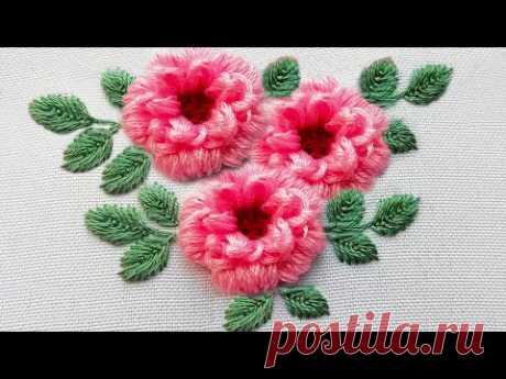 Вышивка: Цветок Пиона | 3Д вышивка