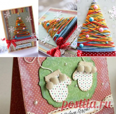 New Year's cards of 2017 in style scrapbooking by the hands