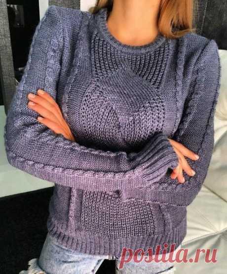 Пуловер спицами женский с ромбами, описание