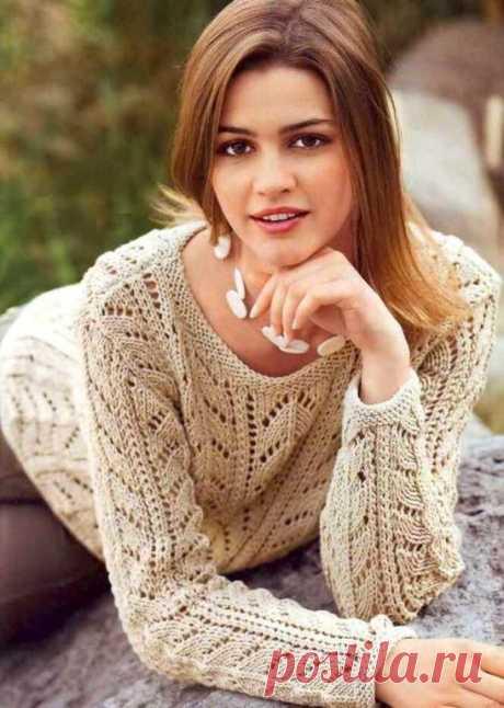 Ажурный пуловер бежевого цвета (Вязание спицами) – Журнал Вдохновение Рукодельницы