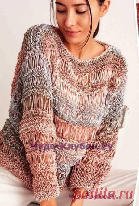 Пуловер с узорами вязаный спицами 1773 | ✺❁сайт ЧУДО-клубок ❣ ❂✺Роскошные узоры, изысканные цветовые сочетания - то, что нужно для многочисленных зимних вечеринок. В этом вязаном пуловере вы готовы к выходу в свет! ❂ ►►➤6 000 ✿моделей вязания ❣❣❣ 70 000 узоров►►Заходите❣❣ %